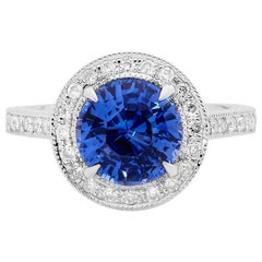 Sapphire and Old Cut Diamond Hand Engraved Platinum Engagement Ring