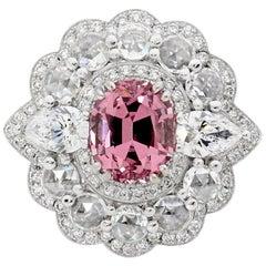 Tanzanian Garnet Dress Ring with Rosecut Diamond Halo