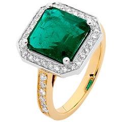 4.23 Carat Emerald White Diamonds 18 Carat White and Yellow Gold Ring