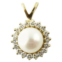 14 Karat Yellow Gold Pearl and Diamond Pendant