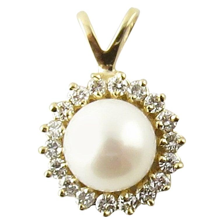 14 Karat Yellow Gold Pearl and Diamond Pendant