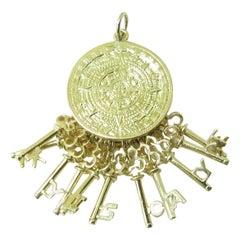 14 Karat Yellow Gold Key Biscayne Mayan Calendar Pendant