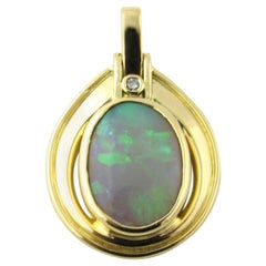 18 Karat Yellow Gold Opal and Diamond Pendant