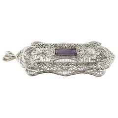 14 Karat White Gold Genuine Amethyst and Diamond Filigree Pendant