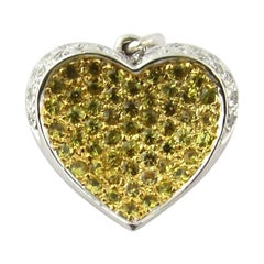 14 Karat Yellow and White Gold Diamond Heart Pendant
