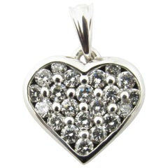 14 Karat White Gold Diamond Heart Pendant