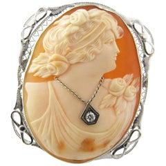 Girl Cameo with Diamond Necklace 14 Karat White Gold Pin Pendant