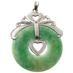 Platinum and Jade Heart Circular Pendant