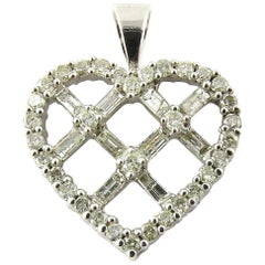 14 Karat White Gold Diamond Criss Cross Heart Pendant