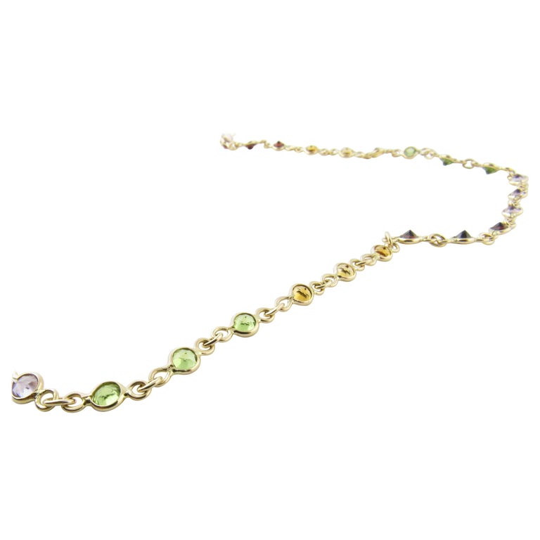 14 Karat Yellow Gold Multicolored Gemstone Necklace