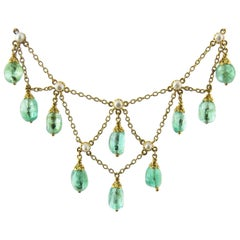 14 Karat Yellow Gold and Emerald Drop Bead Seed Pearl Necklace
