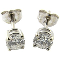 14 Karat White Gold Diamond Stud Earrings .76 Carat