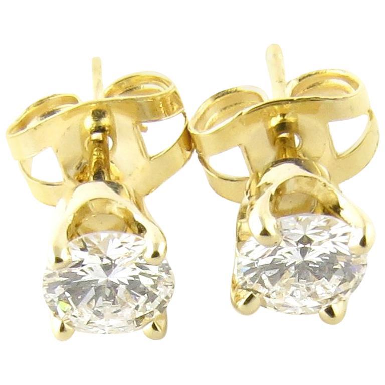 14 Karat Yellow Gold Diamond Stud Earrings