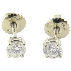 14 Karat White Gold Diamond Stud Earrings 50 Carat Twt
