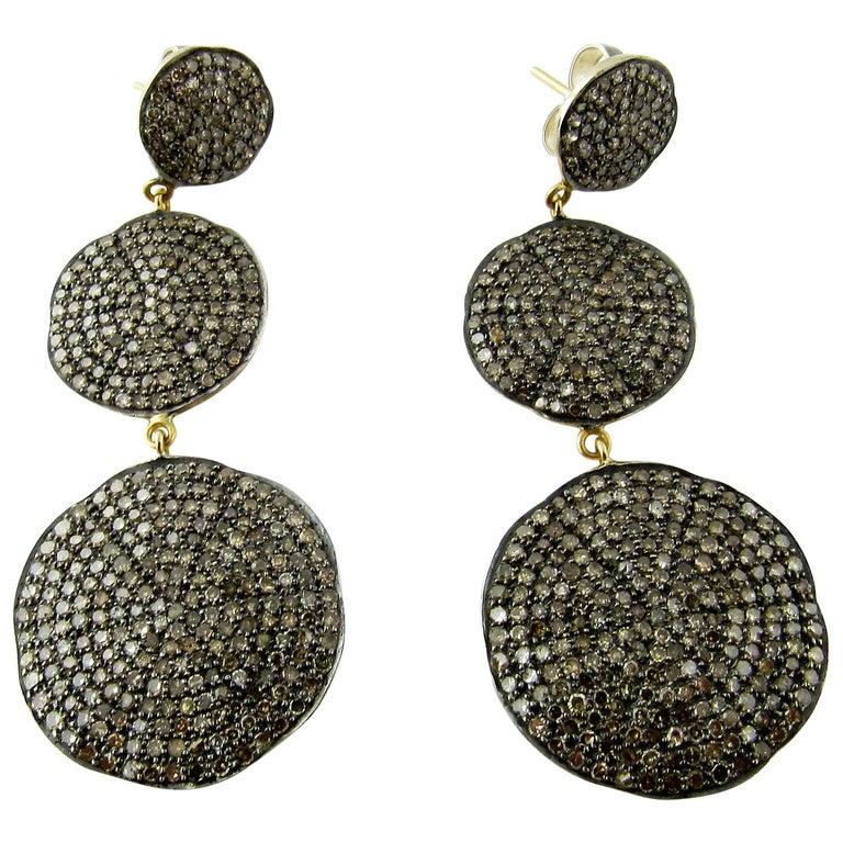 Sterling Silver Diamond Pave Dangle Earrings