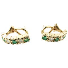 14 Karat Yellow Gold Emerald and Diamond Earrings
