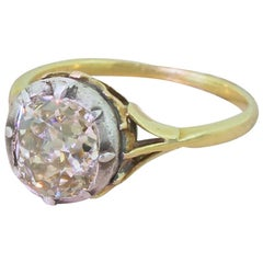 Victorian 2.16 Carat Light Yellow Old Cut Diamond Solitaire Ring