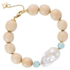 Wooden Bracelet with 18 Karat Gold Discs, Baroque Pearl, Aqua Blue Quartz