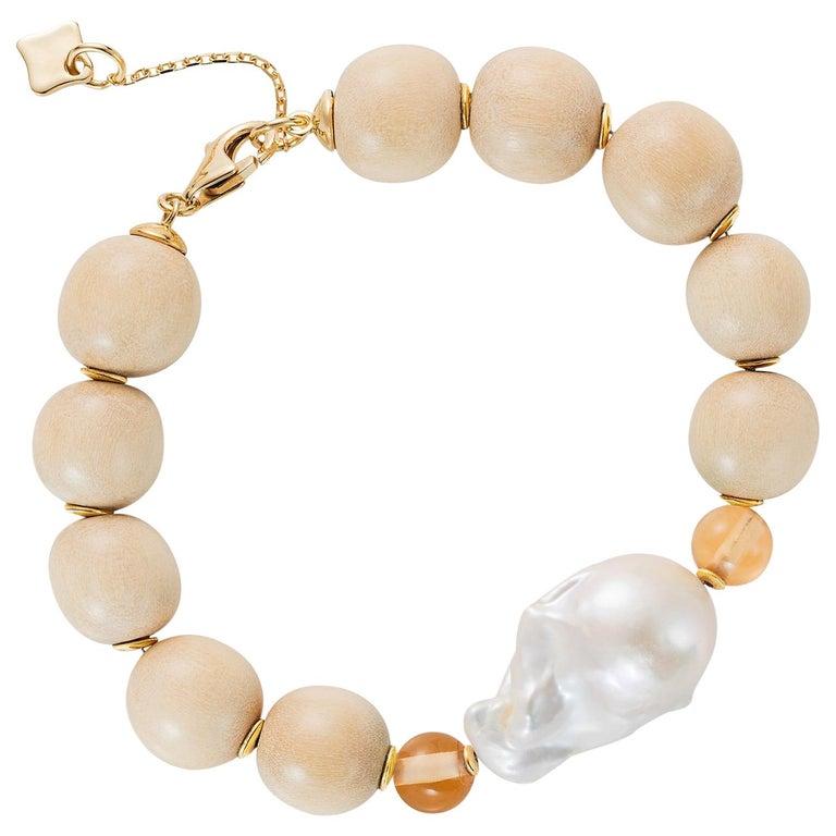 Wooden Bracelet with 18k gold discs, Baroque Pearl, Champagne Citrine Quartz