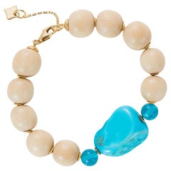 Wooden Bead Bracelet 18 Karat Gold Discs, Tumbled Turquoise, London Blue Topaz