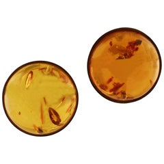 Amber Yellow Gold Clip-On Earrings