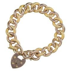 Antique Victorian Curb Bracelet 9 Carat Gold Heart Padlock, circa 1900