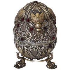 Pavel Ovchinnikov, Russian Faberge Style 84 silver insects Egg with Garnets