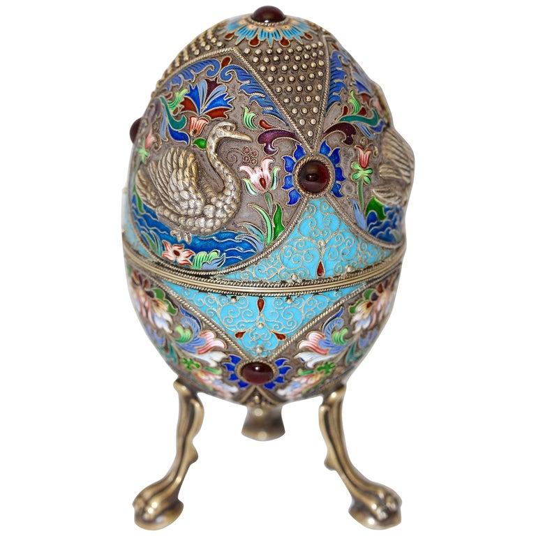 Russian Faberge Style Cloisonne Enamel Egg. 84 Silver H3 'NZ'