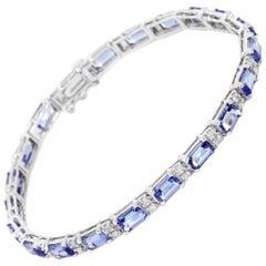 14 Karat White Gold Tanzanite and Diamond Bracelet