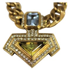 3 Ct. Topaz 4.5 Ct Quartz 2 Ct Diamonds G/H VS 18K Gold Pendant Necklace, 1980s