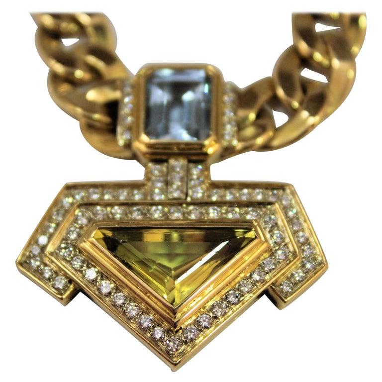 3 Ct. Topaz 4.5 Ct Quartz 2 Ct Diamonds G/H VS 18K Gold Pendant Necklace, 1980s