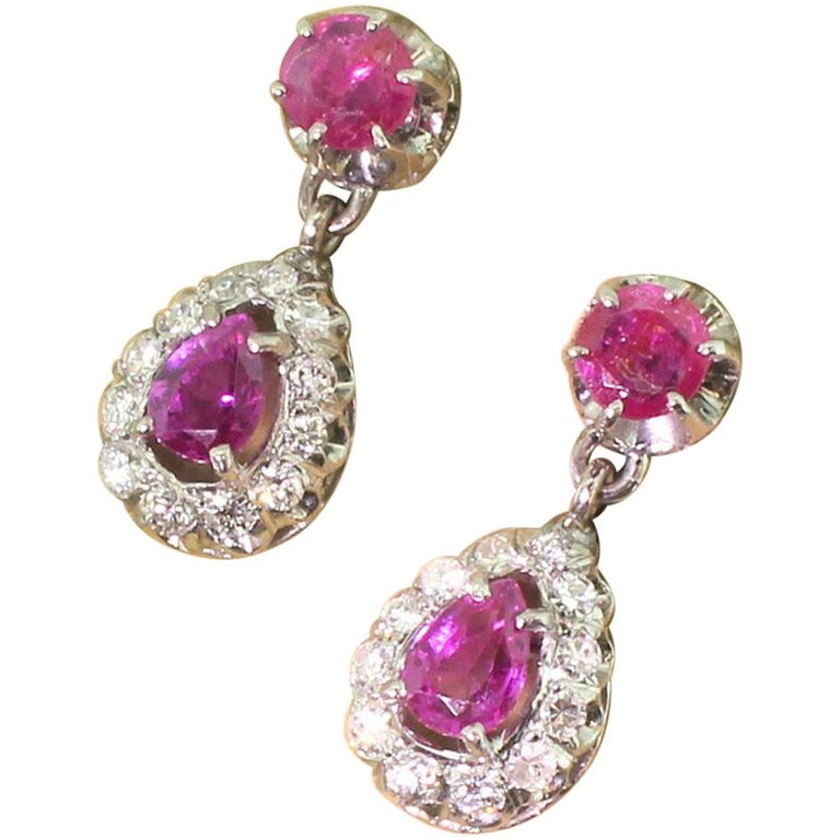 Midcentury 1.70 Carat Ruby and Diamond Pear Drop Earrings