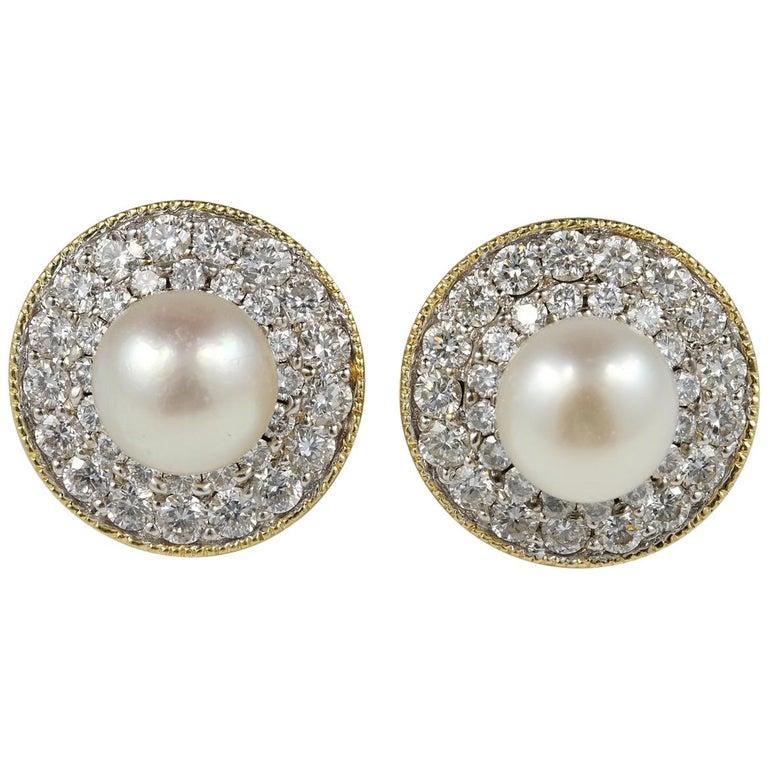 Late Art Deco Natural Pearl Diamond Night Day Stud Earrings