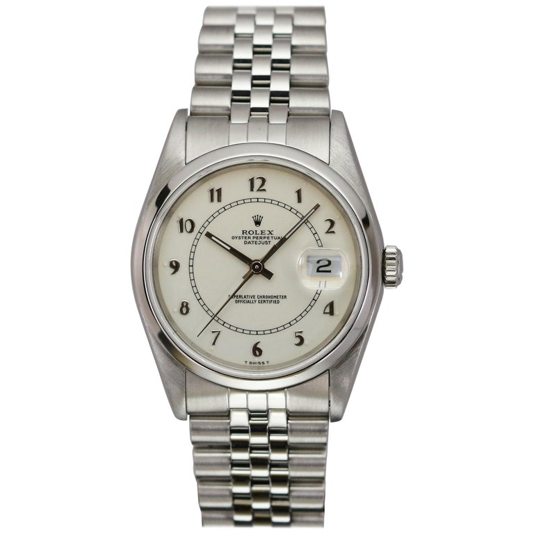 Rolex Stainless Steel Datejust Automatic Wristwatch Ref 16200, circa 1991 For Sale