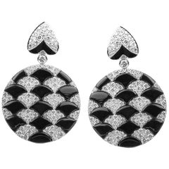 Umrao Diamond and Onyx Checkerboard Earpendants