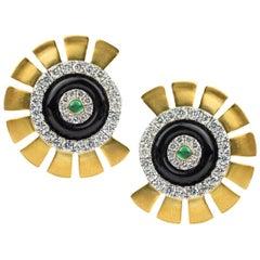 Umrao Diamond, Emerald, and Onyx Ear Clips