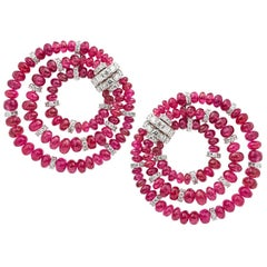 Umrao Spinel and Diamond Ear Clips