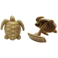 1980s Barry Kiselstein-Cord Figural Textured Green Gold Turtle Cufflinks