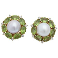 1980s Seaman Schepps South Sea Pearl with Peridots and Diamonds Earclips
