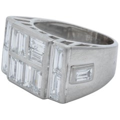 1940s Custom Cut Baguette Diamonds with Platinum Setting Unisex Ring