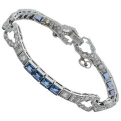 Art Deco Emerald Cut Sapphires with Diamonds Platinum Flexible Link Bracelet
