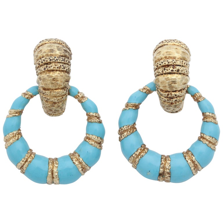 1960s Turquoise Blue Enamel and Textured Gold Doorknocker Hanging Earrings