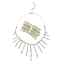 H.Stern 1980s Rock Crystal, Diamond Gold Necklace with Bracelet Suite