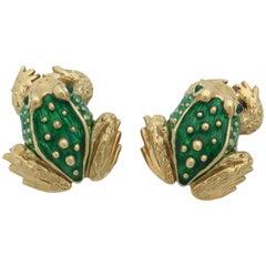 1970s Boris LeBeau Green Enamel with Emeralds Gold Figural Frog Earrings