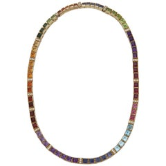 1980s Square Cut Multicolored Stones Detachable Gold Straightline Necklace