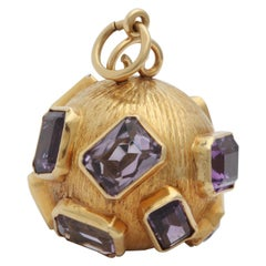 1950s Emerald Cut Amethyst and Textured Gold Large Crater Charm with Bail