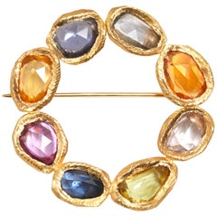 18 Karat Gold Sapphire Circle Pin or Brooch