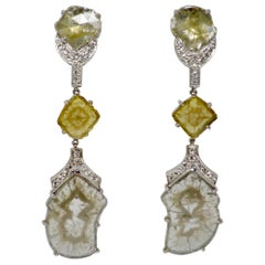 8.70 Carat Natural Fancy Yellow and Gray Slice Diamond Earrings