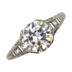 Art Deco 2.08 Carat Diamond Platinum Engagement Ring GIA Certified Diamond