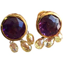 18 Carat Tw Amethyst and Yellow Diamond Briolettes Earrings
